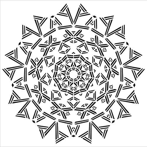 "Mandala - Triangles - Complete Stencil by StudioR12 | Reusable Mylar Template | Use to Paint Wood Signs - Pallets - Pillows - Wall Art - Floor Tile - Select Size (18"" x 18"")"