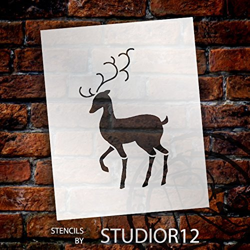 Reindeer Stencil by StudioR12 | Elegant Christmas Holiday Shape Art - Reusable Mylar Template | Painting, Chalk, Mixed Media | Use for Wall Art, DIY Home Decor - STCL1548_5