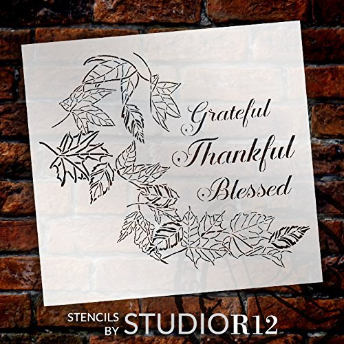Grateful Thankful Blessed with Leaves Stencil by StudioR12 | Reusable Mylar Template | Use to Paint Wood Signs - Wall Art - Pallets - DIY Home Decor - Autumn - Select Size (16