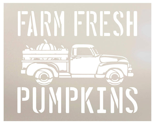 Farm Fresh Pumpkins in Truck Stencil by StudioR12 | Wood Signs | Word Art Reusable | Fall | Painting Chalk Mixed Media Multi-Media | Use for Journaling, DIY Home - Choose Size