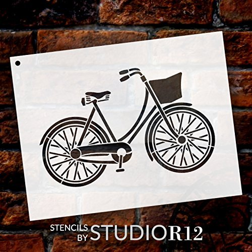 "Bicycle Stencil by StudioR12 | Fun Vintage Art - Reusable Mylar Template | Painting, Chalk, Mixed Media | Use for Wall Art, DIY Home Decor - CHOOSE SIZE (16"" x 12"")"