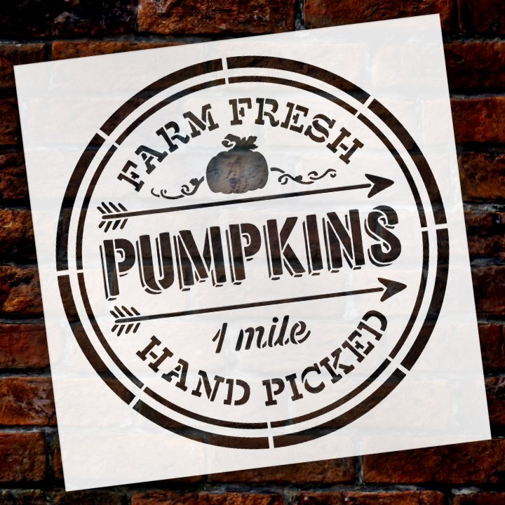 Farm Fresh Pumpkins Hand Picked One Mile Stencil by StudioR12 | Wood Signs | Word Art Reusable | Fall | Painting Chalk Mixed Media Multi-Media | Use for Journaling, DIY Home - Choose Size