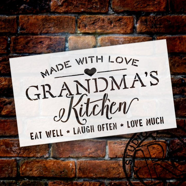 Made with Love Grandma's Kitchen Stencil by StudioR12 | Word Stencil - Reusable Mylar Template | Mothers Day - DIY Home Decor - STCL2630 - Choose Size