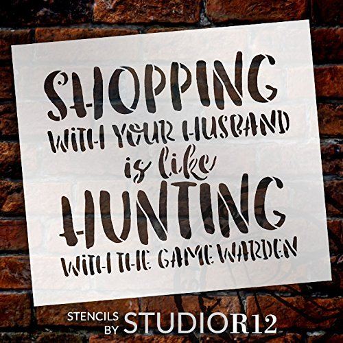 "Shopping Like Hunting - Word Stencil - 8"" x 7"" - STCL1848_1 - by StudioR12"