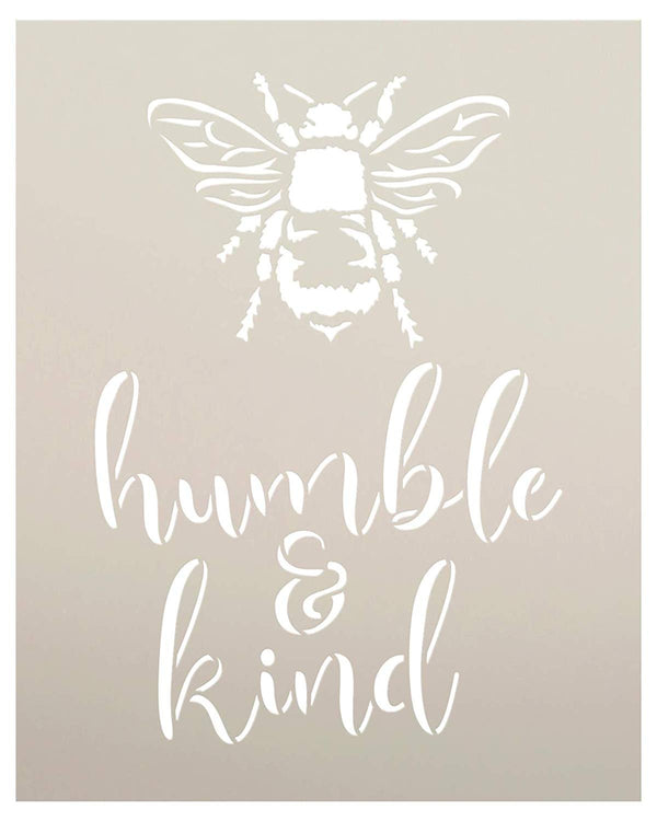 Bee Humble & Kind Stencil by StudioR12 | DIY Farmhouse Bumblebee Home & Classroom Decor | Spring Script Inspirational Word Art | Paint Signs | Reusable Mylar Template | Select Size