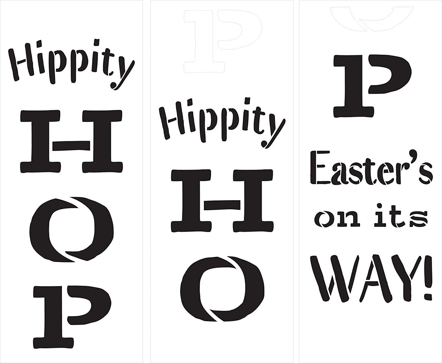 Hippity Hop Easter's On Its Way Tall Porch Stencil by StudioR12 | 3pc | DIY Large Vertical Spring Home Decor | Front Door Entryway | Craft & Paint Wood Leaner Sign | Reusable Mylar Template | Size 6ft