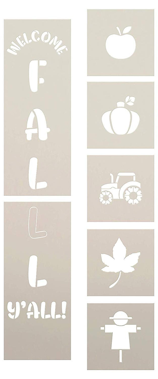 Welcome Fall Y'all Tall Porch Stencil Set by StudioR12 | 7 Piece | Apple Pumpkin Leaf | DIY Large Vertical Autumn Home Decor | Craft & Paint Wood Leaner Signs | Reusable Mylar Template | Size 4ft