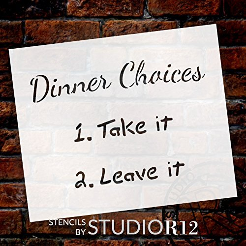 "Dinner Choices Stencil by StudioR12 | Fun Kitchen Restaurant Word Art- 9"" x 7"" Reusable Mylar Template 