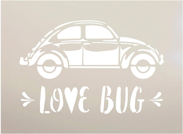 Love Bug Side View Stencil with Heart by StudioR12 | DIY Vintage Beetle Style Valentine's Day Home Decor | Craft & Paint Wood Signs | Reusable Mylar Template | Select Size
