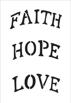 Faith Hope Love Stencil by StudioR12 | Arched Ornament Size Word Art - Mini 3.5 x 5-inch - Reusable Mylar Template | Painting, Chalk, Mixed Media | Use for Journaling, DIY Home Decor - STCL516_1