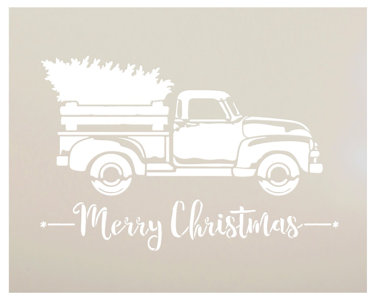 "Little Red Truck With Merry Christmas Script Stencil - Choose Size (15"" x 12"")"