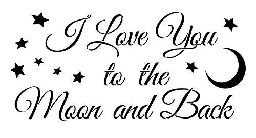 Love You To the Moon Stencil by StudioR12 | Stars Moon script Word Art - Reusable Mylar Template | Painting, Chalk, Mixed Media | Use for Crafting DIY Home Decor
