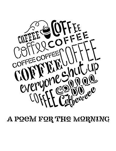 Poem For The Mornings Stencil by StudioR12 | Coffee Word Art - Large 11 x 14-inch Reusable Mylar Template | Painting, Chalk, Mixed Media | Use for Wall Art, DIY Home Decor - STCL816_2