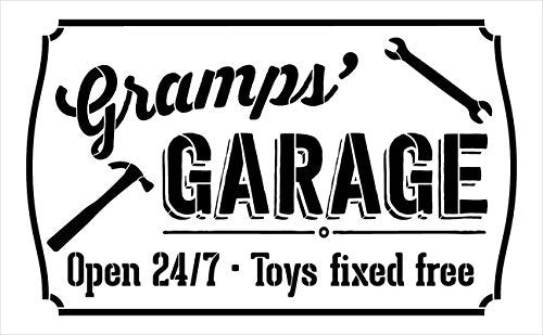 "Gramps' Garage - Open 24/7 Sign Stencil by StudioR12 | Reusable Mylar Template | Use to Paint Wood Signs - Pallets - DIY Grandpa Gift - Select Size (25"" x 16"")"