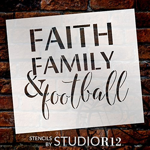 "Faith Family and Football Stencil by StudioR12 | Reusable Mylar Template | Fall Sports - Use to Paint Wood Signs - Wall Art Pallets - T-Shirts Or Pillows - DIY Home Decor - Select Size (16"" x 15"")"