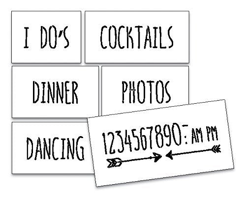 Wedding Reception Sign Stencils by StudioR12 - For Painting Wood, Rustic or Chalkboard Decorations -Welcome and Direct your Wedding Guests - Create the Perfect Ceremony Sign- 6pc Set STCL1602_3