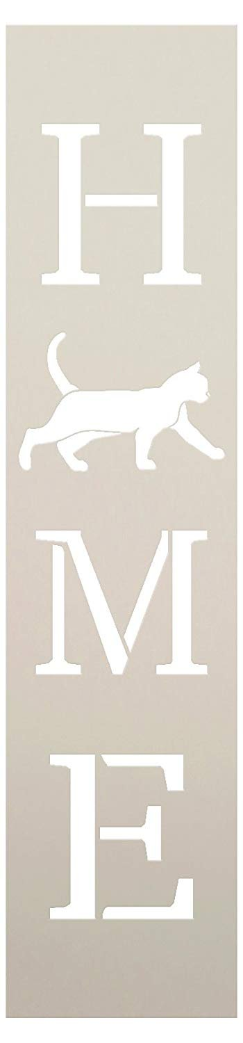 Home with Cat - Vertical Stencil by StudioR12 | Reusable Mylar Template | Use to Paint Wood Signs - Pallets - Banners - DIY Animal Lover Home Decor - Select Size | STCL2459