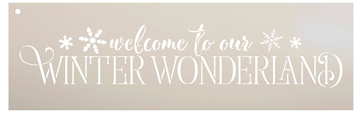 Welcome To Our Winter Wonderland Stencil by StudioR12 | Festive Winter Word Art - Reusable Mylar Template | Painting, Chalk, Mixed Media | Use for Crafting, DIY Home Decor - STCL1543_2