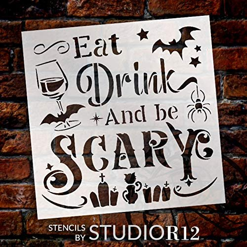 Eat Drink & Be Scary Stencil by StudioR12 | DIY Halloween Kitchen Bar & Home Decor | Craft & Paint | Reusable Template | Select Size | STCL3463