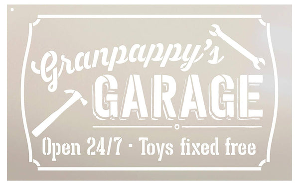 Granpappy's Gargage - Open 24/7 Sign Stencil by StudioR12 | Reusable Mylar Template | Use to Paint Wood Signs - Pallets - DIY Grandpa Gift - Select Size (16