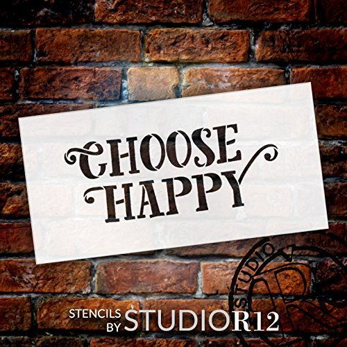 "Choose Happy - Fun Style - Word Stencil - 17"" x 8"" - STCL1821_4 - by StudioR12"