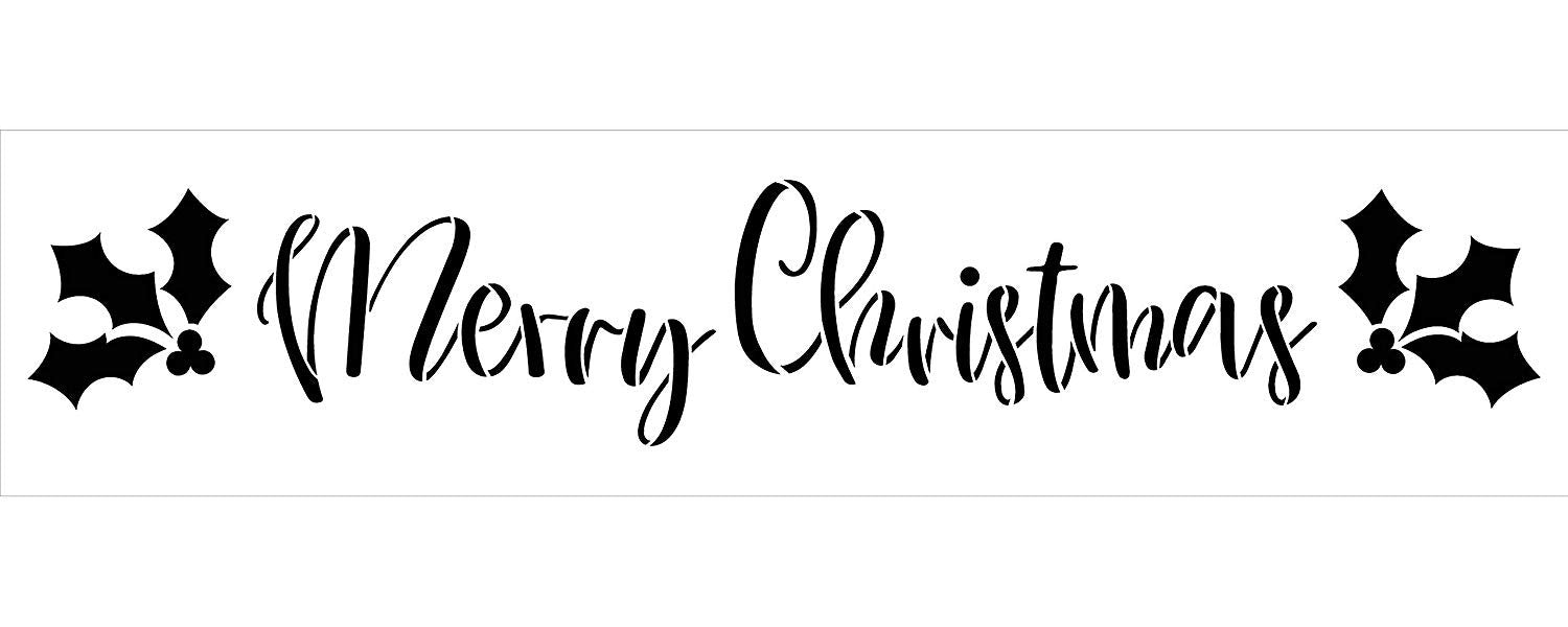Merry Christmas Stencil with Holly & Berries StudioR12 | Rustic Script Word Art | DIY Winter Holiday Home Decor | Craft & Paint Wood Signs | Reusable Mylar Template | Select Size