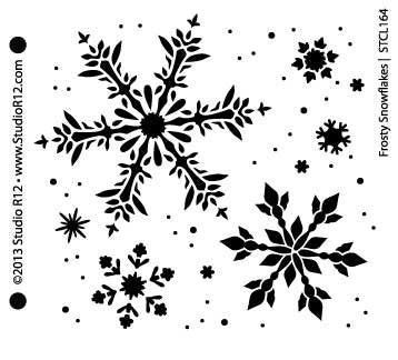 Snowflakes Stencil by StudioR12 | Frosty Style Winter Snowflake Art - Small 6 x 6-inch Reusable Mylar Template | Painting, Chalk, Mixed Media | Use for Wall Art, DIY Home Decor - STCL164_1