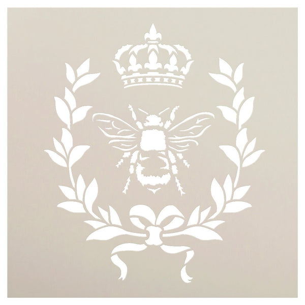 French Bee Stencil by StudioR12 | Crown, Laurel Wreath, Bee, French Country - Reusable - Use with Chalky Paint for Furniture, Farmhouse & Home Wall Decor | STCL917_4 | SELECT SIZE