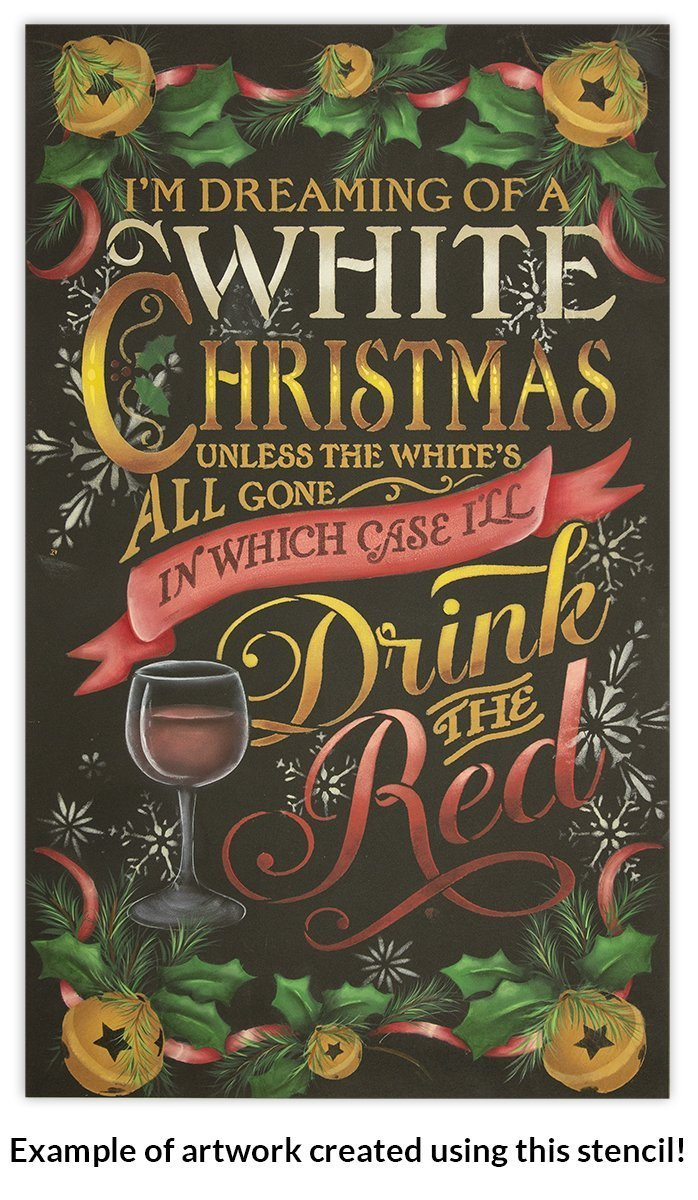 White Christmas Stencil by StudioR12 | Christmas and Wine themed Word Art - Reusable Mylar Template | Painting, Chalk, Mixed Media | Use for Crafting, DIY Home Decor -CHOOSE SIZE