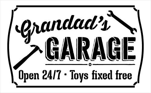 "Grandad's Garage - Open 24/7 Sign Stencil by StudioR12 | Reusable Mylar Template | Use to Paint Wood Signs - Pallets - DIY Grandpa Gift - Select Size (25"" x 16"")"