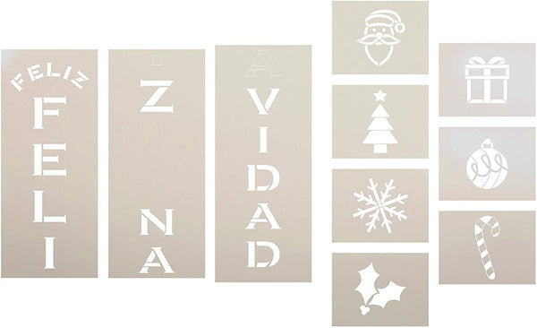 Feliz Navidad Tall Porch Stencil Set by StudioR12 | 10pc | Santa Christmas Tree Snowflake Ornament Candy Cane Holly | DIY Large Vertical Holiday Home Decor | Craft & Paint Wood Leaner Signs | Size 6ft
