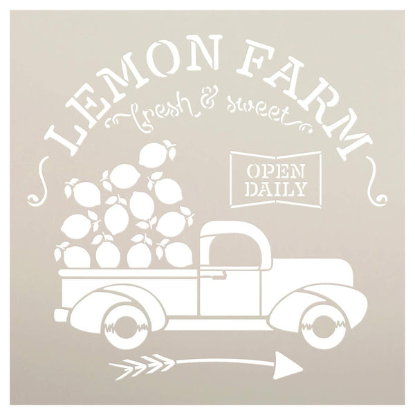 Lemon Farm Stencil with Vintage Truck & Arrow by StudioR12 | DIY Spring & Summer Rustic Kitchen Home Decor | Craft & Paint Farmhouse Wood Signs | Reusable Mylar Template | Select Size