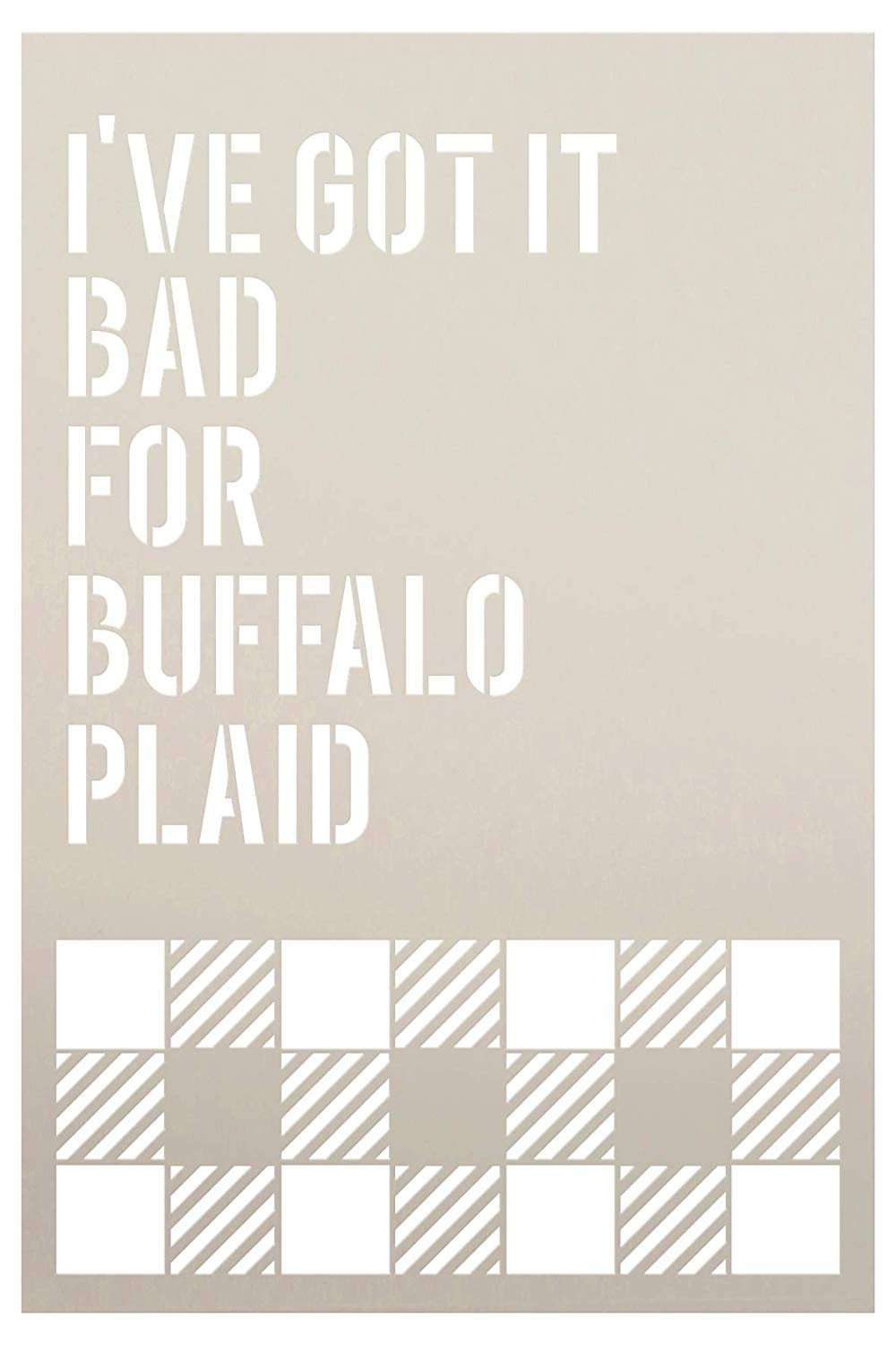 Got It Bad for Buffalo Plaid Check Square Stencil by StudioR12 | Painting Wood Sign | Furniture Totes Fabric | Lumberjack Pattern | Diagonal Large Square Pattern | DIY Home Decor - Choose Size