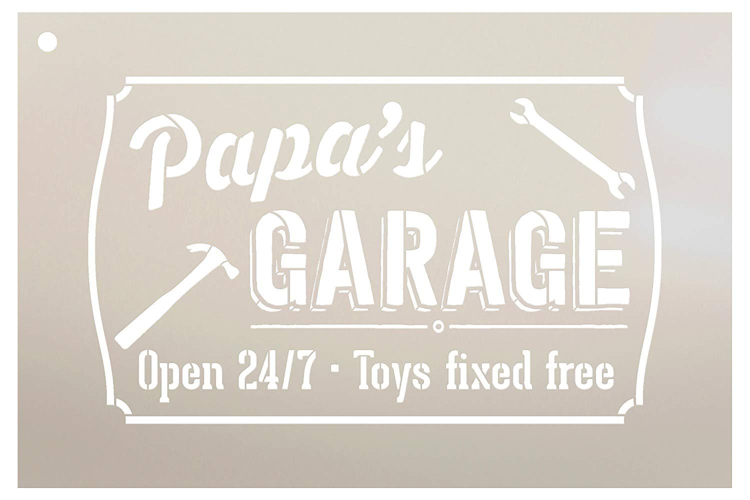 "Papa's Garage - Open 24/7 Sign Stencil by StudioR12 | Reusable Mylar Template | Use to Paint Wood Signs - Pallets - DIY Grandpa Gift - Select Size (12"" x 8"")"