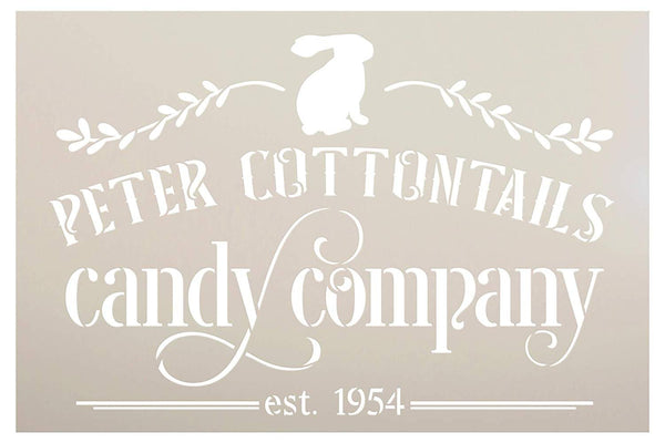 Peter Cottontails Candy Company Stencil with Bunny by StudioR12 | DIY Fun Spring Home Decor | Easter Rabbit Word Art | Paint Farmhouse Wood Sign | Reusable Mylar Template | Select Size
