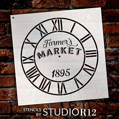 Round Clock Stencil - Industrial Roman Numerals - Farmers Market Words - Small to Extra Large DIY Painting on Wood Home Decor - Select Size (12