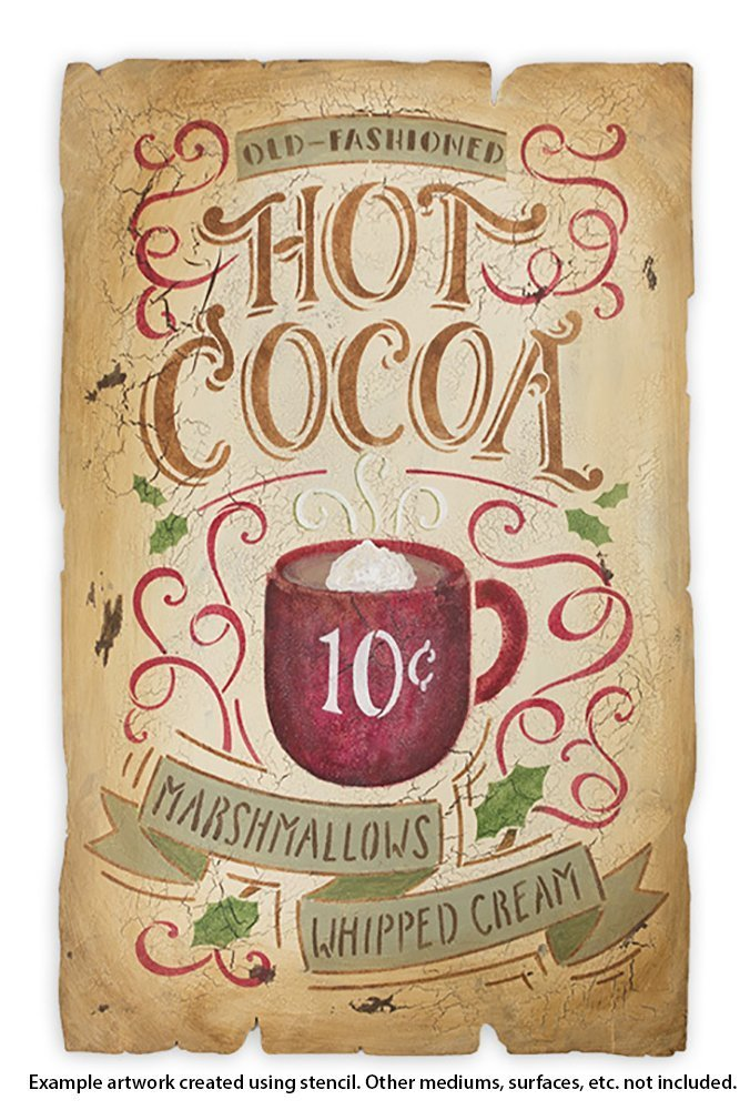 Hot Cocoa Stencil by StudioR12 | Reusable Mylar Template |Typography, Word Art , Painting, Chalk,| Use for Crafting Christmas / Winter Farmhouse style Wood Signs (STCL1384_2) SELECT SIZE