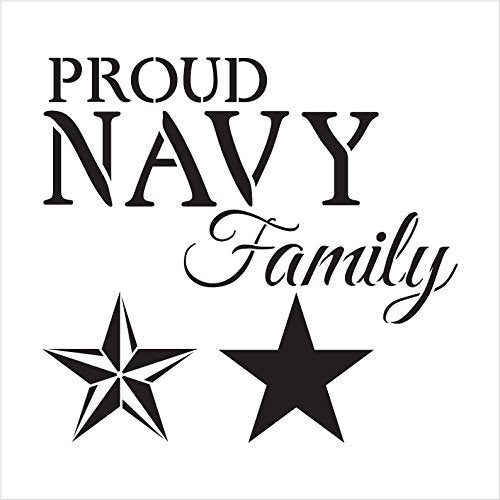 "Proud Navy Family - Word Art Stencil - 11"" x 11"" - STCL1244_1 by StudioR12"
