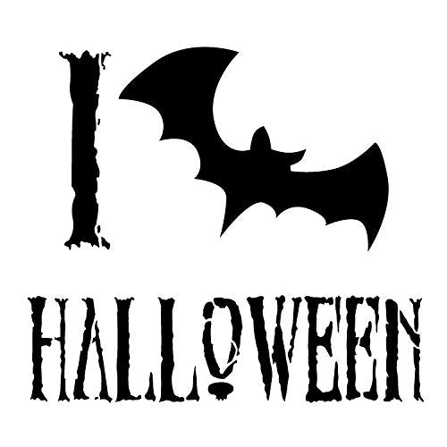 "I Love Halloween - Bat - Word Art Stencil - 8"" x 8"" - STCL1279_2 by StudioR12"