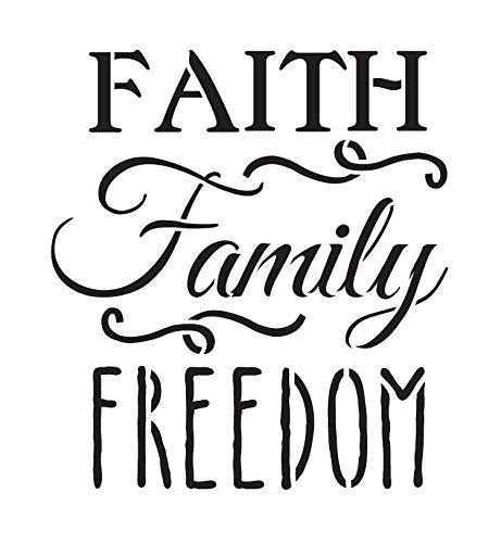 Faith Family Freedom Stencil by StudioR12 | Fancy Patriotic Word Art - Large 15 x 15-inch Reusable Mylar Template | Painting, Chalk, Mixed Media | Use for Wall Art, DIY Home Decor - STCL1234_4
