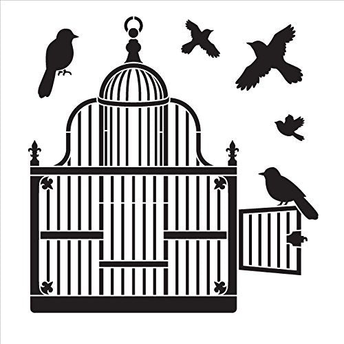 "Victorian Birdcage with Birds - Art Stencil - 10"" x 10"""