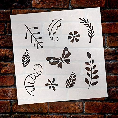 Woodland Leaves Stencil by StudioR12 | DIY Nursery | Nature Decor | Animal | Craft Home Decor | Reusable Mylar Template | Paint Wood Sign - Select Size