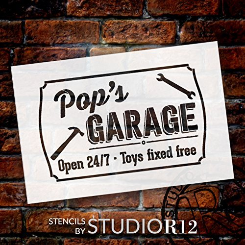 Pop's Garage - Open 24/7 Sign Stencil by StudioR12 | Reusable Mylar Template | Use to Paint Wood Signs - Pallets - DIY Grandpa Gift - Select Size (21