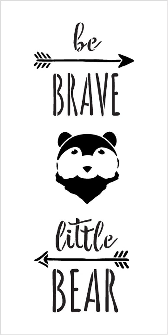 Be Brave Little Bear Stencil with Arrows by StudioR12 | DIY Woodland Nursery Home Decor | Rustic Nature Baby Gift | Craft & Paint Wood Signs | Reusable Mylar Template | Size - 5
