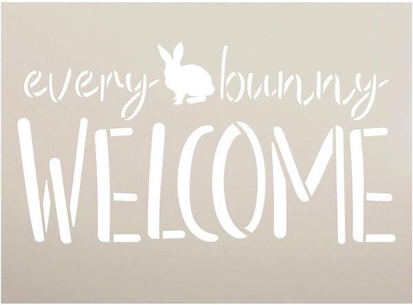 Every Bunny Welcome Stencil by StudioR12 | DIY Fun Cursive Spring Home Decor | Easter Script Word Art | Craft & Paint Farmhouse Wood Sign | Reusable Mylar Template | Select Size