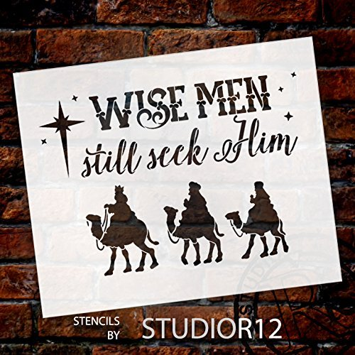 Wise Men Still Seek Him Stencil by StudioR12 | Christmas Camels Word Art - Medium 11 x 9-inch Reusable Mylar Template | Painting, Chalk, Mixed Media | Use for Crafting, DIY Home Decor - STCL1542_1