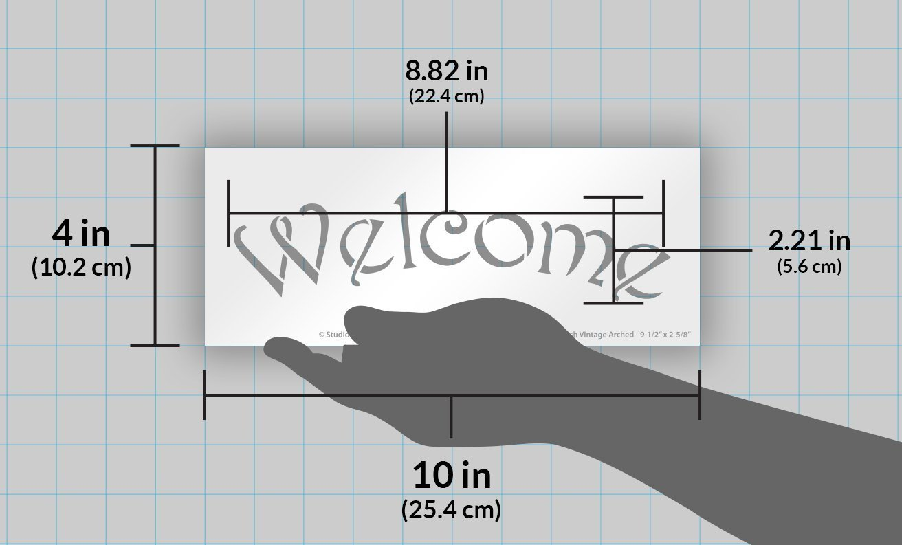 Arched Welcome Stencil for Painting Wood Signs by StudioR12 | Reusable Mylar | Easily Paint Perfect Lettered Signs for Entrance - Front Door - Porch | Use for Crafting, DIY Home Decor