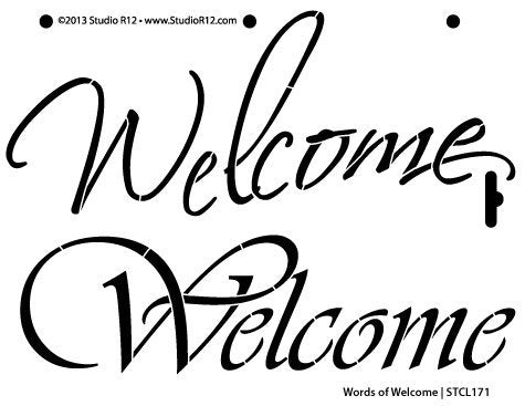 Words of Welcome Stencil by StudioR12 | Fun Elegant Script Word Art - Small 8 x 6-inch Reusable Mylar Template | Painting, Chalk, Mixed Media | Use for Journaling, DIY Home Decor - STCL171_2
