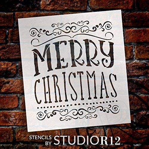 "Merry Christmas Stencil by StudyR12 | Whimsical Swirls Word Art - Reusable Mylar Template | Painting, Chalk, Mixed Media | Use for Crafting, DIY Home Decor - STCL1413 … SELECT SIZE (14"" x 15"")"