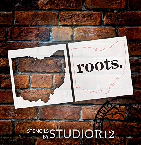 Ohio Roots Stencil - 2 Part by StudioR12 | Reusable Mylar Template | Use to Paint Wood Signs - Pallets - Pillows - T-Shirts - DIY Home Decor - Select Size | STCL2486
